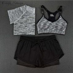 2017 3 Pieces Women Fitness Yoga Set T-Shirt & Bra & Cropped Trousers Sport Set Gym Clothes Sport wear Training Suit quick dry - Sportkleidung - Teen Fashion Outfits, Sporty Outfits, Athletic Outfits, Cute Outfits, Hiking Outfits, Gym Outfits, Fashion Fashion, Jogging, Jugend Mode Outfits