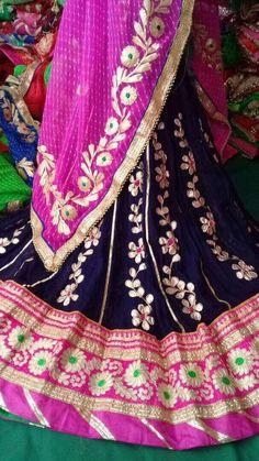 Crepe Gota Work Lehenga With Lehariya Dupatta. Comes in nine different combinations. Perfect budget lehenga under to wear to your sisters wedding. Rajasthani Lehenga, Indian Sarees, Sari, Saree Dress, Bandhani Dress, Red Lehenga, Anarkali, Lehenga Choli, Sharara