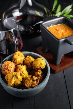 Curried Tomato-Gruyere Fondue with Indian-Spiced Arancini