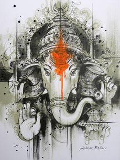 Navdurga Nine forms of Goddess Durga Hindu Mythology Lord Ganesha Paintings, Ganesha Art, Krishna Painting, Ganesh Tattoo, Indian Contemporary Art, Ganesha Pictures, Indian Art Paintings, Abstract Paintings, Durga Goddess