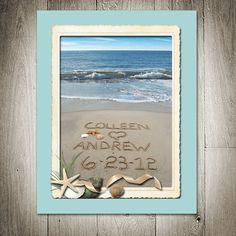 Beach Seaside Personalized 11x14 Sandwriting Border-BLUE on Etsy, $48.00