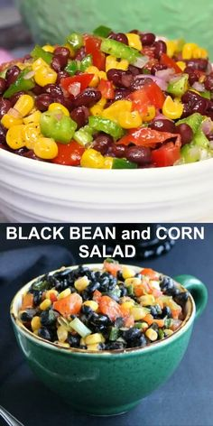 Black Bean and Corn Salad is a healthy & flavorful salad. A perfect recipe & easy for potlucks, parties, lunches and anytime! Only 15 minutes. Watch the colorful video! Corn Salad Recipe Easy, Corn Salad Recipes, Salad Recipes Video, Corn Salads, Easy Salads, Healthy Salad Recipes, Vegan Recipes, Vegetarian Salad, Healthy Lunches