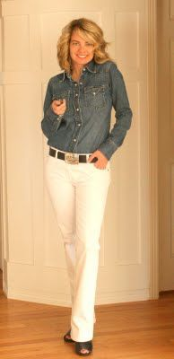 White jeans Lucky Denim shirt-All Goodwill