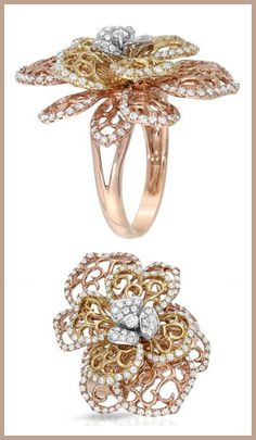 Ring with 0.94ctw Genuine Diamonds. 18K Three tone Gold. Total item weight 10.5g