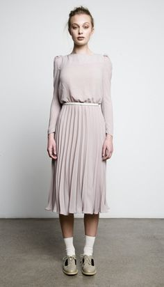 Juliette Hogan fall winter collection - love the pastels and the style of this dress. It's got a vintage feel but is a really elegant modern outfit.