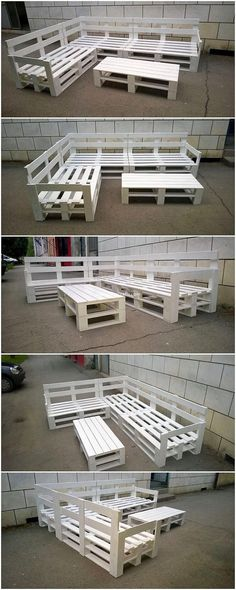 To bring some royal appearance in your house outdoor ares, having the choice to add this awesome setting of the corner couch with the table is said out to be the ideal option for you. White hues of shading effect has been bringing the taste Pallet Garden Furniture, Corner Furniture, Furniture Sets, Pallets Garden, Couch Furniture, Outdoor Furniture, Furniture Design, Pallet Creative Ideas, Diy Pallet Projects