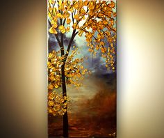 vertical blooming golden tree - Landscape and Modern Art Painting