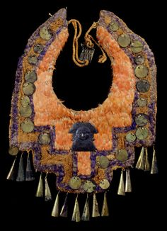 Collar, Peru, Chimu, ca. 1460-1600. Cotton, feathers, L: 32.00 cm, W: 25.50 cm. TM 91.743. Acquired by George Hewitt Myers in 1957.