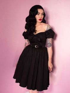 91cb6b39ef FINAL SALE - Vixen Swing Dress in Raven Black