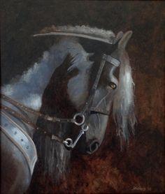 """""""Frysk hynder """"olie op paneel 50 x 60 cm. 2016 Jehannes Hoogeveen"""