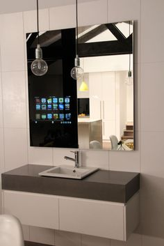 Glass Computers - Whether you are sitting on the couch or standing in the shower, the integrated mirror glass computer brings your tablet to every surface of your ho. Computer Glasses, Night Driving, Mirror Cabinets, Home Automation, Cabinet Design, Kitchen Gadgets, Tiny House, Shower, Control 4