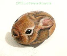 Bunny Portrait  Rock Painting by RockArtAttack .https://www.facebook.com/L.kanetis.paintedstones