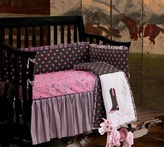 Western Paisley Crib Bedding - will brighten up your little girls nursery. The combination of colors and patterns creates a fun, girlish, western themed crib bedding set.