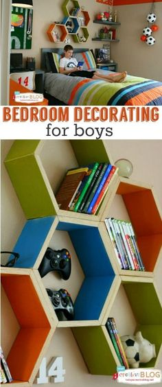 Cool Bedrooms for Teen Boys Teen Boy room makeover- Handmade Hexagon shelving from Today's Creative Cool Bedrooms For Boys, Awesome Bedrooms, Bedroom Ideas For Teen Boys, Bedroom Decor For Boys, Preteen Boys Bedroom, Girl Bedrooms, Boys Blue Bedrooms, Teen Guy Bedroom, Teenage Boy Rooms