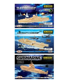 Naval Vessels 3-D Wooden Puzzle Set