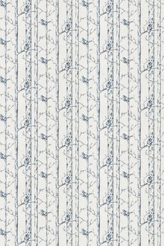 Jenny Wren (5847/047) - Prestigious Fabrics - Slender vertical tree trunks create a stripe effect with delightful birds jumping around the branches in blue on white. Shown in the Porcelain colourway.  Please request sample for true colour match.