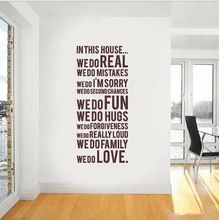 The ebay removable and waterproof English proverb wall stickers Family Rules(China (Mainland))