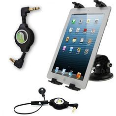 Rotating Windshield Tablet Holder Car Mount  Aux Cable  Retractable Mono Headset Earpiece for iPad Air Air 2  iPad Mini Mini 2 Mini 3 Retina  iPad 1 2 3 4  iPod Touch Nano  Samsung Galaxy Tab Tab S Note NOTEPRO TABPRO  LG G Pad and All Tablets ** Check this awesome product by going to the link at the image.