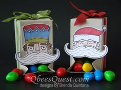 Gift Box Punch Board Candy Dispenser Tutorial | Santa Stache, Gift Box Punch Board, Santa Claus, Nutcracker, M&Ms, favors, boxes, Blendabilities, Mustache Die, Christmas, Stampin' Up
