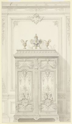 Drawing, Design for a Bedroom Armoire in Louis XVI Style (Armoire pour un chambre à coucher riches, Style Louis XVI), 1873–79