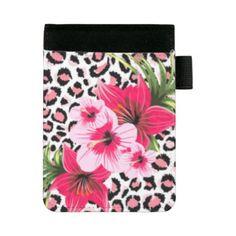 Pink Flowers & Leopard Pattern Print Design Mini Padfolio - floral style flower flowers stylish diy personalize