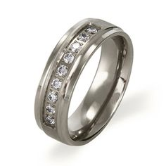 The Beveled Edge Titanium Ring with 9 CZ stones offers timeless style with a masculine edge. Inner surface is curved for a comfortable fit.