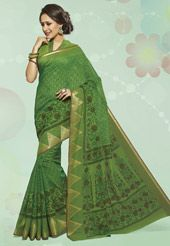 Green Cotton Saree with Blouse