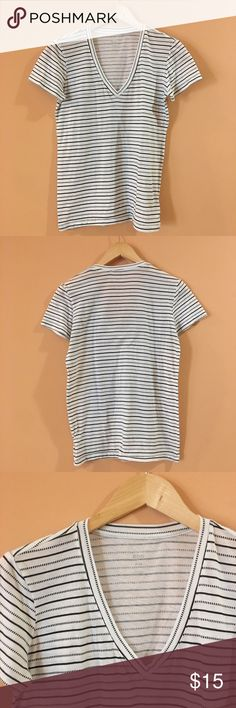 "BDG Urban Outfitters V Neck Striped Tee BDG Urban Outfitters V Neck Striped Tee. Pit to pit 19""/ length 24.5"". Urban Outfitters Tops Tees - Short Sleeve"