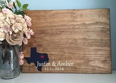 Rustic Wedding Guest Book Alternative /State by TheRusticEarth