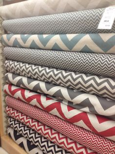 Hancock Fabrics has a great selection f decorators fabrics with chevron. Just like I saw at Crate N Barrel for decorating