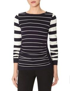Striped Shirred Front Sweater by xiuli