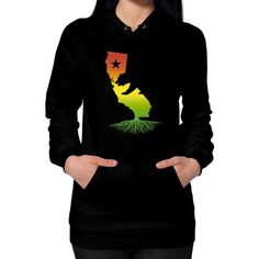 California Roots (Rasta surfer colors) Hoodie (on woman)