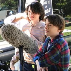 Finn Wolfhard and Noah Schnapp behind the scenes on Stranger Things