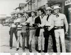 Old TV Cowboys L-R _Will Hutchins (Sugarfoot). Peter Brown (Lawman), Jack Kelly (Maverick), Ty Hardin (Bronco Lane), James Garner (Maverick), Wade Preston (Colt 45), John Russell (Lawman)
