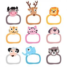 Animals frames collection Free Vector