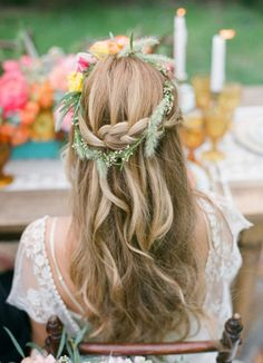 A boho chic wedding #hairstyle we're gaga over! | Fiore Beauty