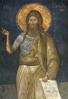 John the Baptist Religious Images, Religious Icons, Religious Art, Byzantine Icons, Byzantine Art, Fresco, Anima Christi, Bible John, Gothic Art