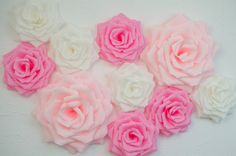 10 Giant Paper Flowers/Giant Paper Roses/Wedding by LandofFlowers