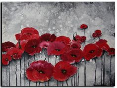 16x20 ORIGINAL Oil painting  Red poppies  by by studiomosaic, $145.00