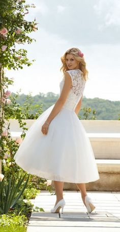 Lace bodice, capped sleeves, Tea-Length #Short #Wedding #Dress ♡ For how to organise an entire wedding ... on a budget https://itunes.apple.com/us/app/the-gold-wedding-planner/id498112599?ls=1=8 ♥ THE GOLD WEDDING PLANNER iPhone App ♥ http://pinterest.com/groomsandbrides/boards/ for an abundance of wedding ideas ♡