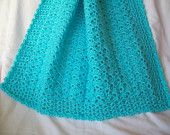 Crochet Aqua Turquoise Baby Blanket Boy Girl - Crib Car Seat Stroller Blanket - Ready to ship Shower Gift Photo Prop