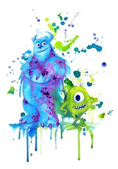 Mike and Sully watercolor