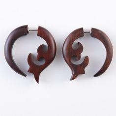 "Fake Gauge Earrings - Wood Tribal Earrings Fake Piercing  - Sono Wood ""Crescent Fleur"" Earrings. $10.00, via Etsy."