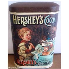 Vintage Hersheys Chocolate Cocoa 1984 Tin Canister