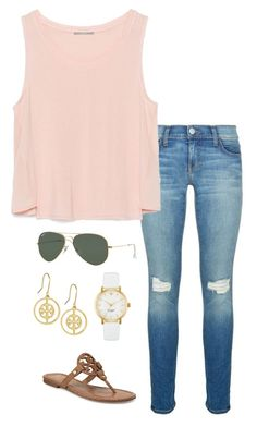 pink top by helenhudson1 on Polyvore featuring polyvore fashion style Zara Rebecca Minkoff Tory Burch Kate Spade Ray-Ban clothing