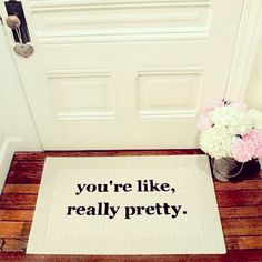 You can't sit with us! // Mean Girls quote door mat is creative inspiration for us. Get more photo about home decor related with by looking at photos gallery at the bottom of this page. Boho Apartment, Apartment Living, Apartment Ideas, College Girl Apartment, College House, Cheap Apartment, Girl Apartment Decor, Single Apartment, College Closet