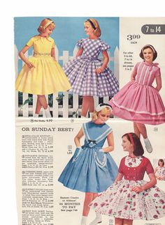 "LOVE these descriptions! The yellow: swirling skirt. Lingerie ironing like a Hanky ​​""What does that mean? There are also"" chubby ""sizes, from 8 Vintage Girls Dresses, Little Girl Dresses, Vintage Outfits, 1950s Fashion, Kids Fashion, Vintage Fashion, Fashion Catalogue, Mode Vintage, Clothing Patterns"