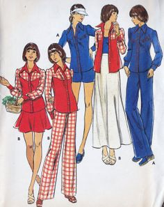 1970s Junior Shirt Skirt Pants and Shorts - my mother had this pattern!