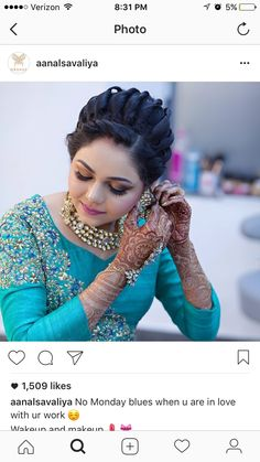 Bring your favorite colors into your special day with these Wedding Color Theme ideas. Bollywood Hairstyles, Saree Hairstyles, Indian Wedding Hairstyles, Bride Hairstyles, Hairstyles Haircuts, Bridal Hairdo, Front Hair Styles, Hair Looks, Indian Beauty