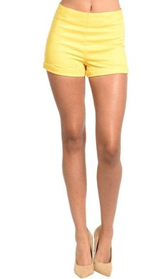Stay cool this summer in these chic Sunshine Yellow Shorts.